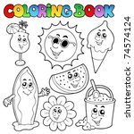 coloring book with summer... | Shutterstock .eps vector #74574124