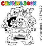 coloring book with family in... | Shutterstock .eps vector #74574130