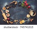 christmas baking sweet food... | Shutterstock . vector #745741315
