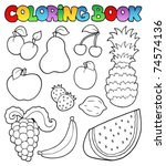 coloring book with fruits... | Shutterstock .eps vector #74574136