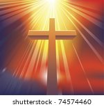 An awesome dramatic Christian cross bathed in light - stock vector
