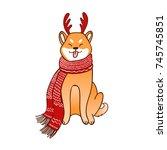 shiba inu horn deer  winter... | Shutterstock .eps vector #745745851