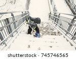 boy shoveling snow from the... | Shutterstock . vector #745746565
