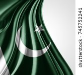 pakistan  flag of silk with... | Shutterstock . vector #745752241