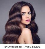 beauty long wavy hair. elegant...   Shutterstock . vector #745755301