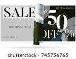 sale advertisement banner on... | Shutterstock .eps vector #745756765