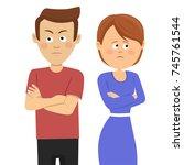 young unhappy couple having...   Shutterstock .eps vector #745761544