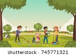 colorful green park with...   Shutterstock .eps vector #745771321