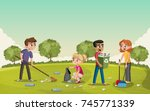 colorful green park with... | Shutterstock .eps vector #745771339