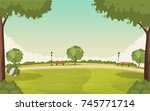 colorful green park. nature...   Shutterstock .eps vector #745771714