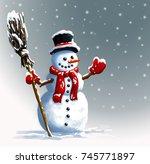 snowman in  hat with broom... | Shutterstock . vector #745771897