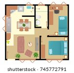 ground floor popular house | Shutterstock .eps vector #745772791