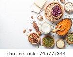 vegan protein source. lentils ... | Shutterstock . vector #745775344