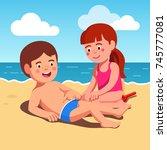 two kids boy and girl in swim...   Shutterstock .eps vector #745777081
