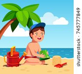 boy playing sand castles game... | Shutterstock .eps vector #745777849