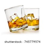 glass of scotch whiskey and ice ...   Shutterstock . vector #745779574