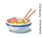 tonkotsu ramen soup bowl with...   Shutterstock .eps vector #745781515