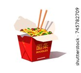 takeaway carton box noodles... | Shutterstock .eps vector #745782709