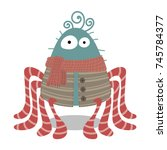 cute and funny spider cartoon.... | Shutterstock .eps vector #745784377