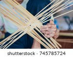 wicker material from bamboo | Shutterstock . vector #745785724
