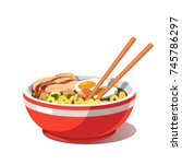 miso chicken ramen soup bowl... | Shutterstock .eps vector #745786297