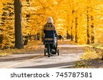 a young mother with a stroller... | Shutterstock . vector #745787581