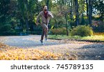 healthy active man running in... | Shutterstock . vector #745789135