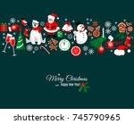 merry christmas and happy new... | Shutterstock .eps vector #745790965