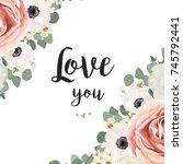 vector floral design card.... | Shutterstock .eps vector #745792441