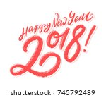 happy new year 2018. greeting... | Shutterstock .eps vector #745792489