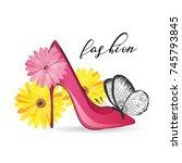beautiful card with high heel...   Shutterstock .eps vector #745793845