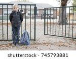 sad bullied kid. no friends ...   Shutterstock . vector #745793881