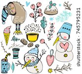 collection of doodles cute... | Shutterstock .eps vector #745795231