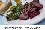 Small photo of beet green boiled in a plate greece