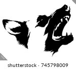 black and white linear paint... | Shutterstock .eps vector #745798009