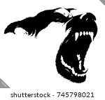 black and white linear paint... | Shutterstock .eps vector #745798021