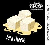 vector diced feta cheese icon... | Shutterstock .eps vector #745801675