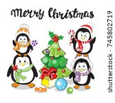 funny penguins with christmas... | Shutterstock .eps vector #745802719