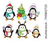 funny penguins on a white... | Shutterstock .eps vector #745802725