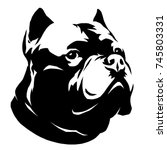 Stock photo black and white linear paint draw dog illustration 745803331