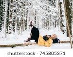 odd bizarre female lying on... | Shutterstock . vector #745805371