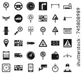 city traffic icons set. simple... | Shutterstock . vector #745808989
