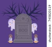 gravestone  cute ghosts and... | Shutterstock .eps vector #745820119