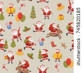 seamless pattern. christmas... | Shutterstock .eps vector #745820185