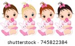 vector cute baby girls with toy ... | Shutterstock .eps vector #745822384