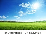 field of grass and perfect sky | Shutterstock . vector #745822417