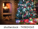 christmas home interior with... | Shutterstock . vector #745824265