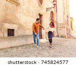 happy young couple in love... | Shutterstock . vector #745824577