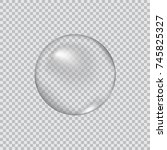 transparent glass sphere with... | Shutterstock .eps vector #745825327