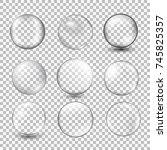 set of transparent glass sphere ... | Shutterstock .eps vector #745825357